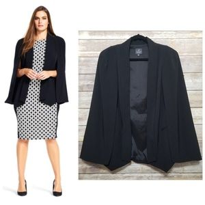 Adrianna Papell Black Plus Cape Blazer Jacket 2X
